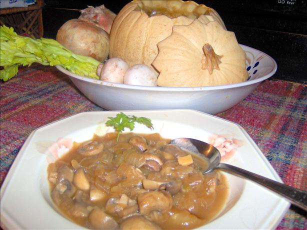 Mushroom Bourguignonne in a Whole Pumpkin