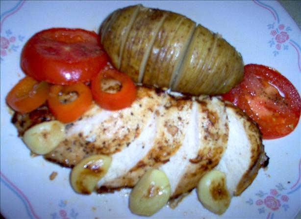 Chicken With Garlicky Potato Fans