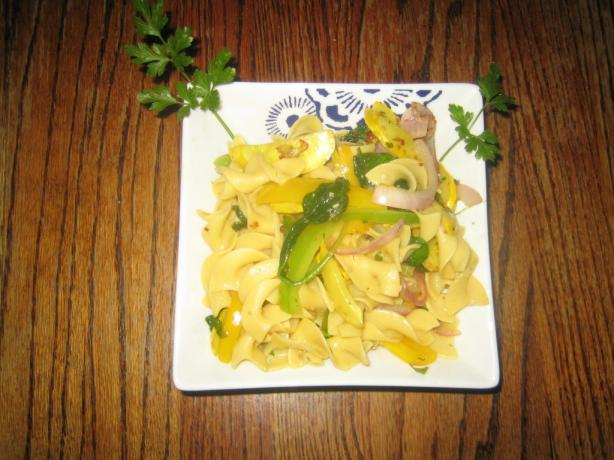Sauteed Crookneck Squash and Egg Noodles