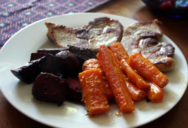 Roasted Carrots and Beets With the Juiciest Pork Chops