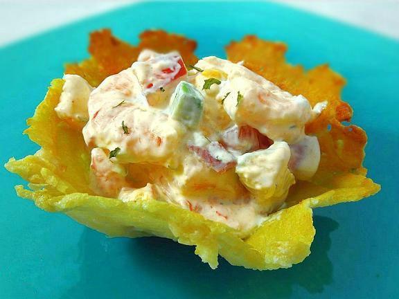 Shrimp & Mango Salad in Crispy Parmesan Bowls