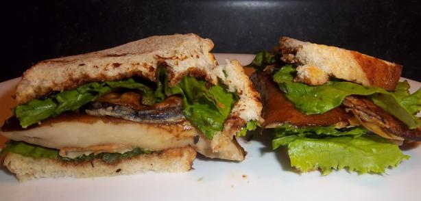 Portabella Mushroom and Eggplant Sandwich Vegan Style