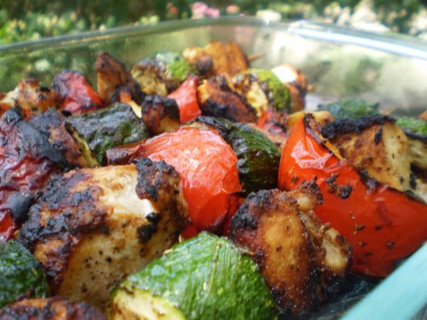 Pollo Moruno With Grilled Vegetables (Spanish Chicken Skewers)