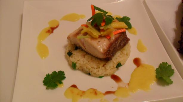 Seared Mahi-Mahi W Risotto & Mango Sauce