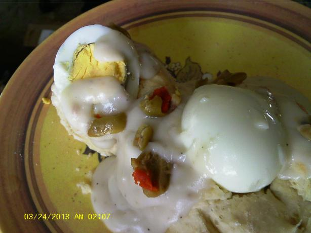 Eggs on Biscuits With Olive Sauce
