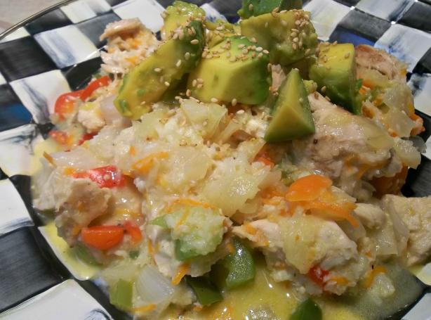 Pina Colada Chicken W/ Calypso Confetti Cauliflower (Paleo)
