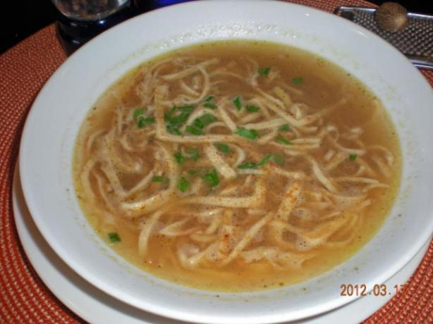 Frittatensuppe - Beef Broth Topped With Strips of Sliced Pancake