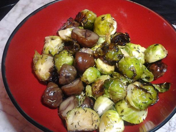 Sauteed Brussel Sprouts With Roasted Chestnuts