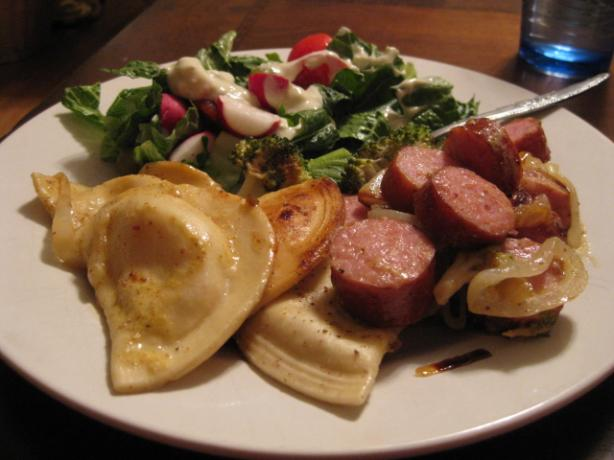Kielbasa With Pierogies & Caramelized Onions