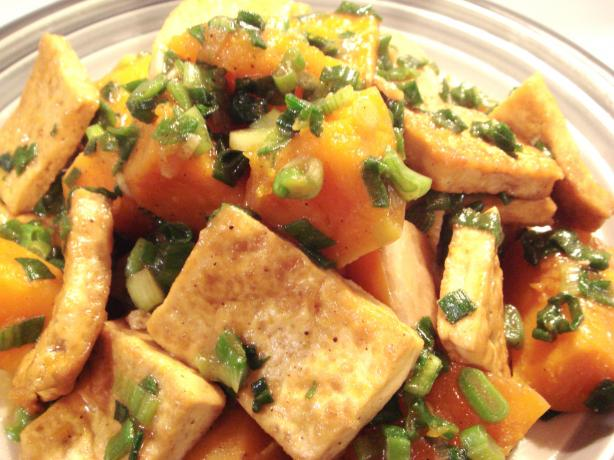 Braised Butternut Squash With Tofu And Green Onions