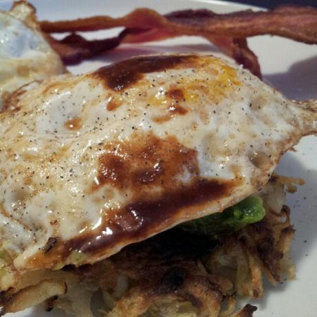 Potato Pancakes With Avocado Mash and Eggs