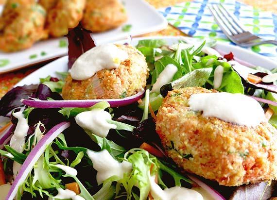 Salmon Croquette Salad (Gluten Free)