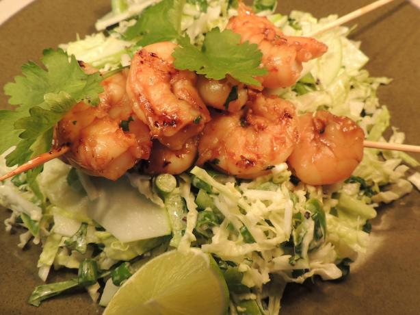 Vegemite Asian Prawns With Green Slaw
