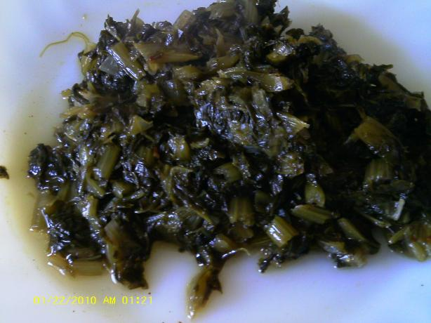 Sweet and Sour Mustard Greens