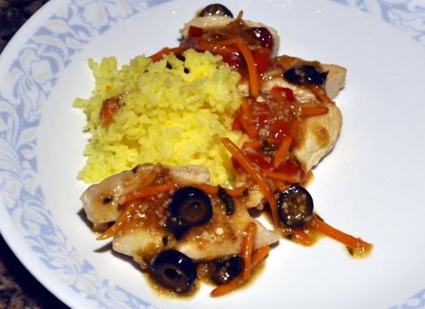 Bejeweled Chicken and Saffron Rice