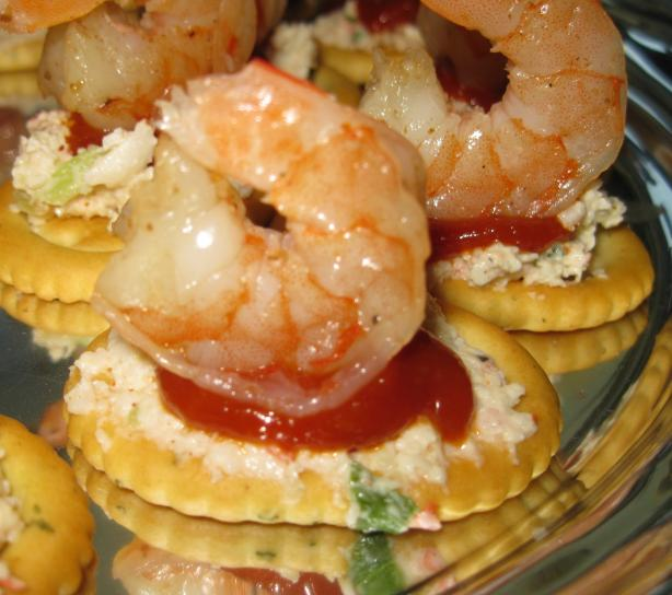 Florida Shrimp Cocktail on a Cracker