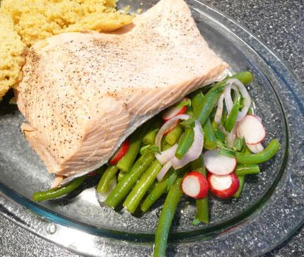 Poached Salamon With Green Bean Salad