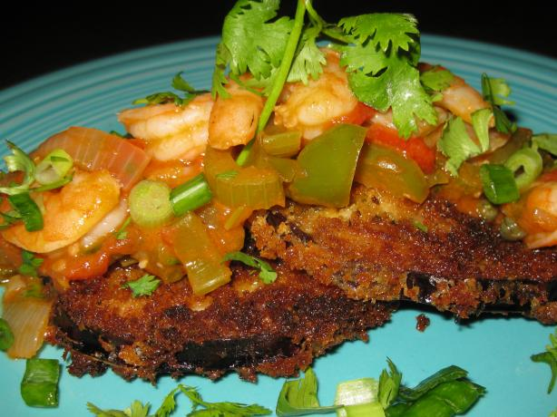 Floribbean Shrimp With Fried Eggplant