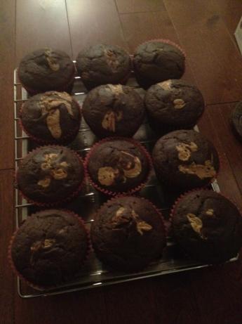 Fudgy Peanut Butter Muffins