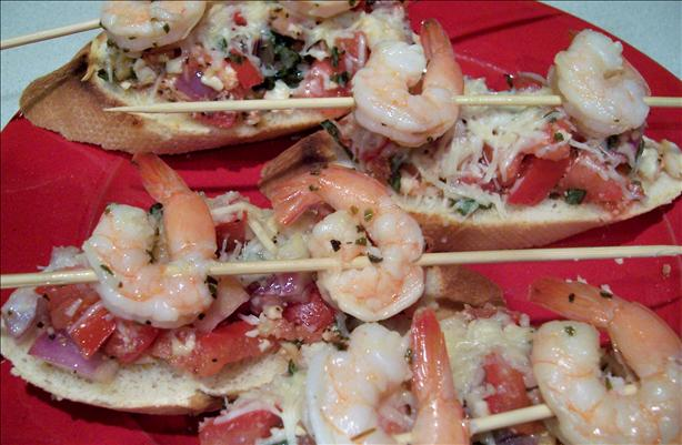 Shrimp on a Bed of Bruschetta