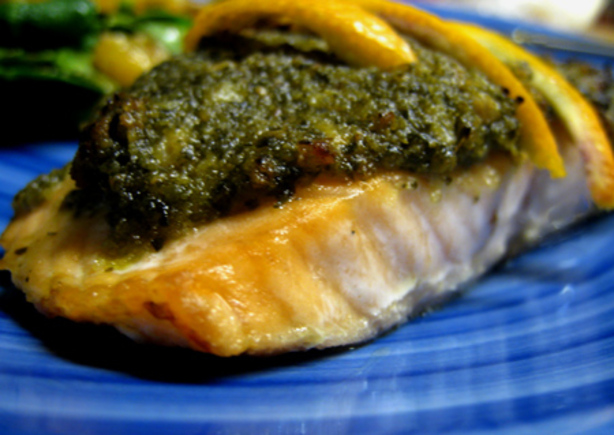 Salmon With Pesto Crust
