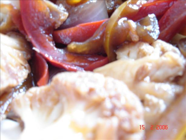 Thai Sweet-Garlicky Cauliflower With Red Pepper Strips