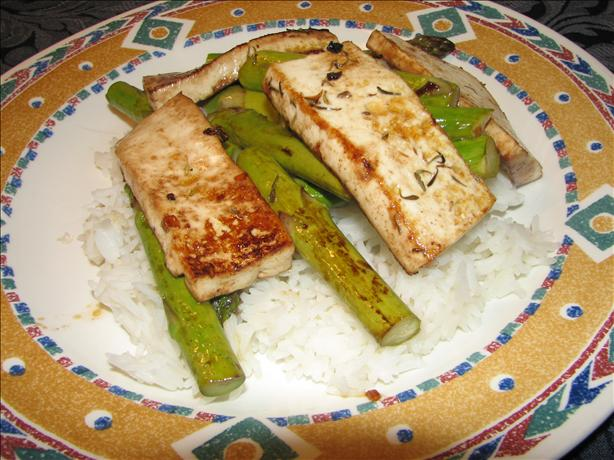 Asparagus With Tofu and Balsamic Butter