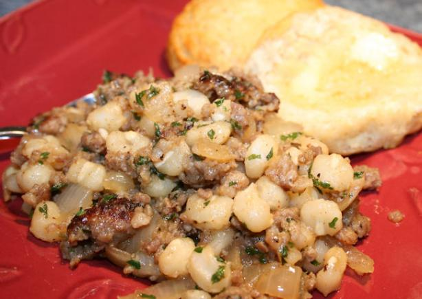 Jolean's Hominy and Sausage