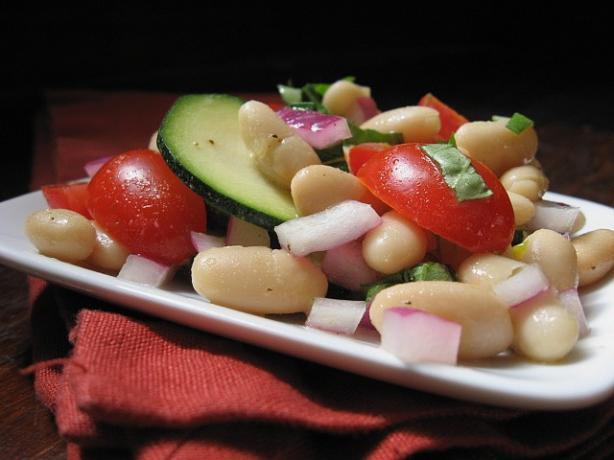 White Bean Zucchini Basil Salad