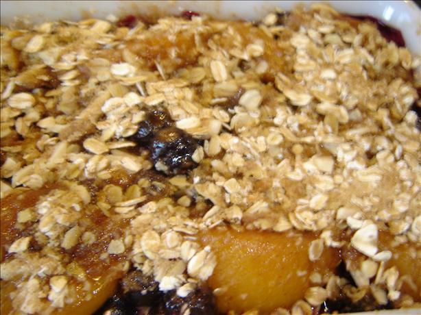 Blueberry Peach Almond Crisp