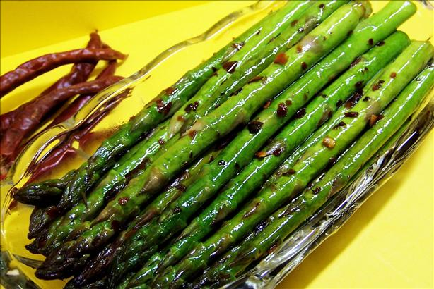 Spicy Fried Asparagus Stalks