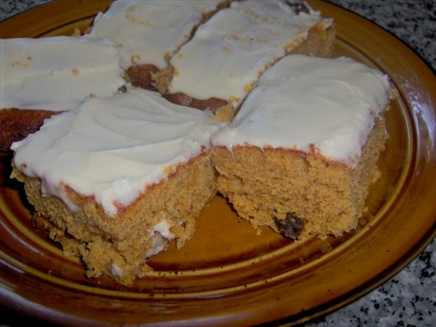 Pumpkin Bars With Raisins