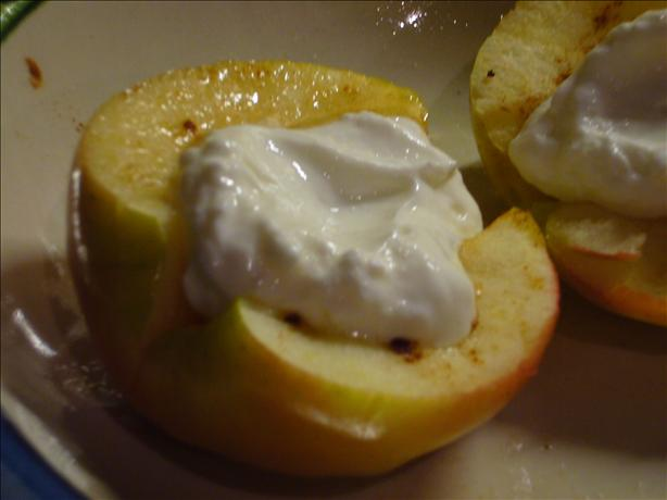 Very Healthy Near Instant Baked Apple With Creamy Nonfat Yogurt