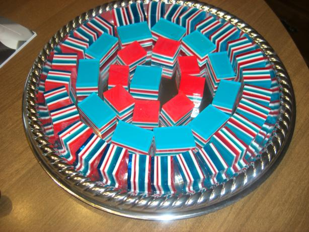 Jello Ribbon Cubes