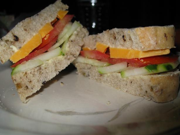 Cucumber, Tomato and Cheddar Sandwich
