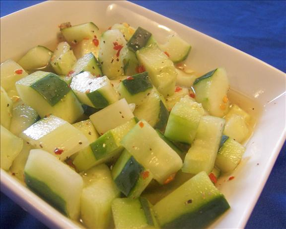 Spicy Vinegared Cucumbers