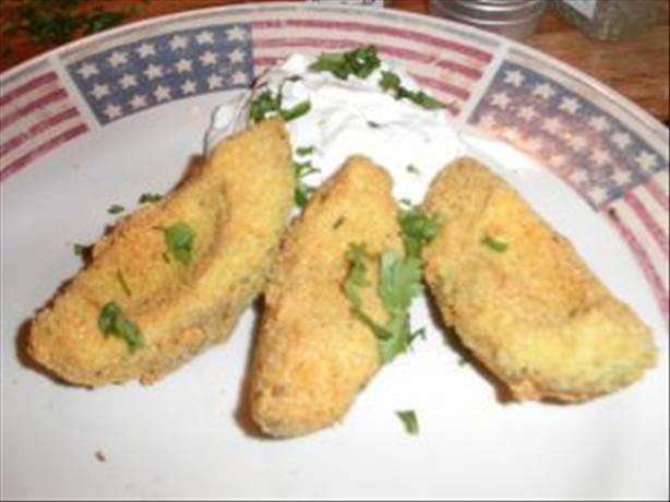 Fried Avocado Slices With Spicy Lime Cream