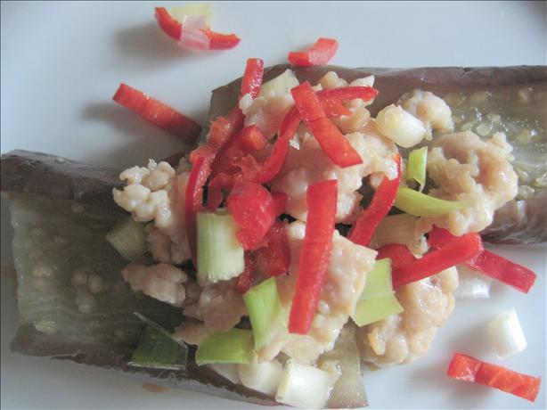Steamed Eggplant With Minced Chicken in Rice Vinegar