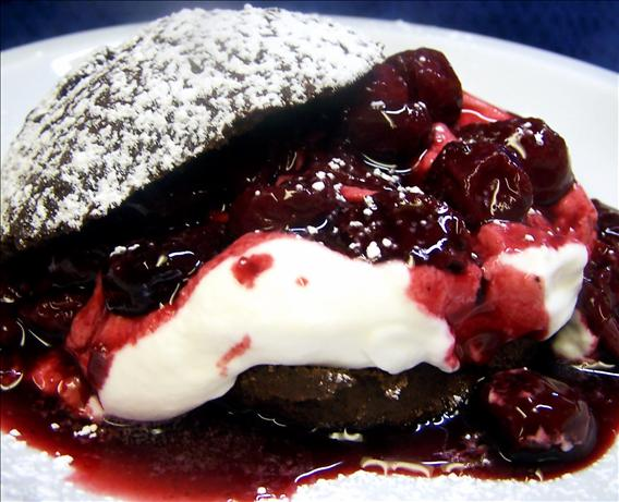 Chocolate Shortcakes With Sour Cherry Topping