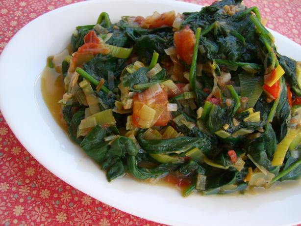 Fresh Spinach With Leeks in Pernod