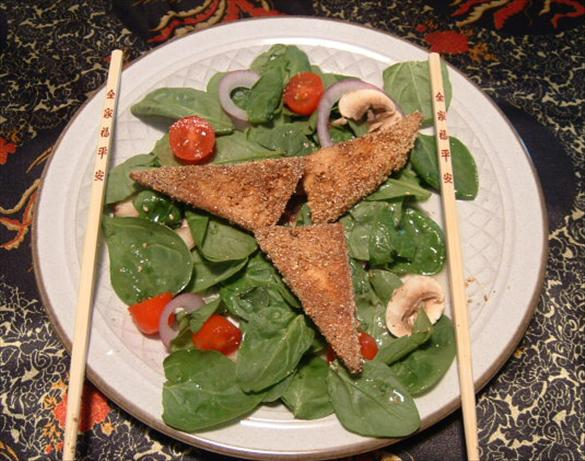 Fried Tofu and Spinach Salad