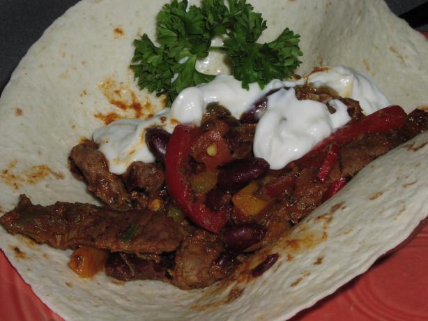 Beef & Kidney Bean Fajitas