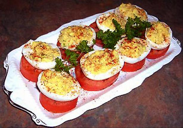 Mom's Stuffed Eggs Tomato Stack