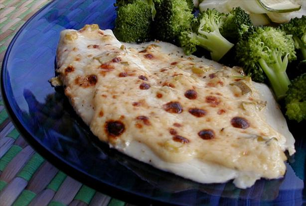 Halibut With Garlic Mayonnaise-Parmesan Topping