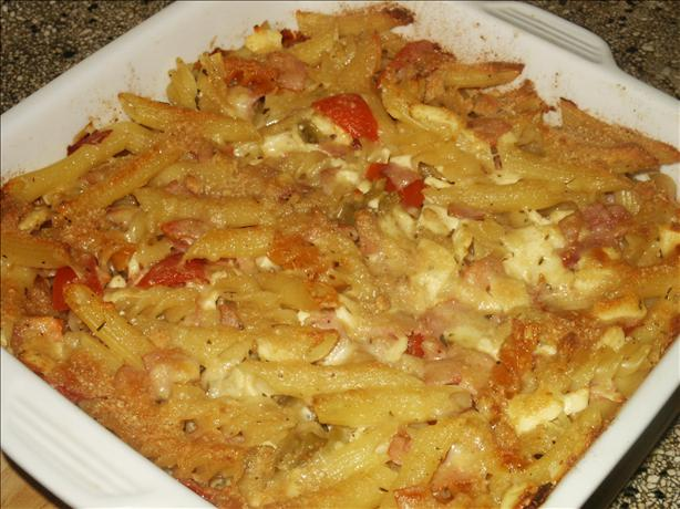 Baked Rigatoni with Ham and Feta