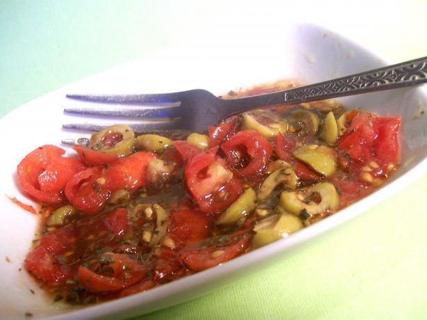 Smashed Tomato and Olive Salad