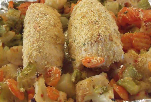 Shortcut Stuffed Chicken Rolls with Veggies