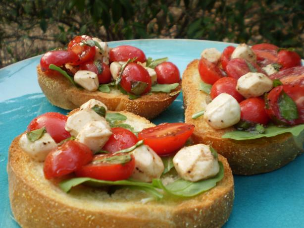 Cherry Tomato, Bocconcini and Basil Bruschetta