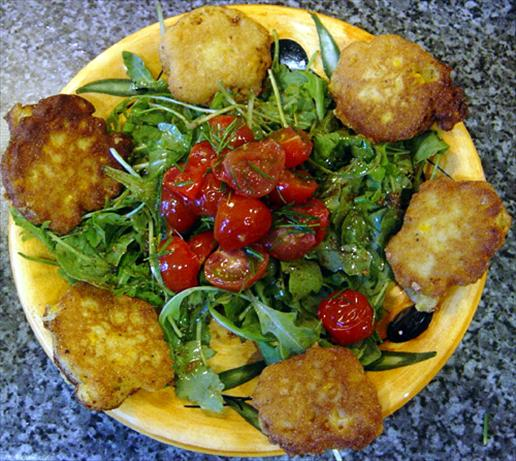 Corn Fritters With Arugula & Warm Tomatoes