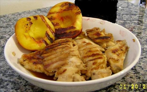 bourbon glazed chicken and peaches